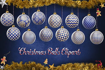 Blue And Gold Christmas Balls, Christmas Tree Decoration, Christmas Clipart