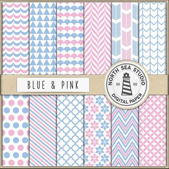 Blue And Pink Digital Paper Pack Scrapbook Paper Printable