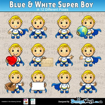 Blue And White Super Boy – 12 Poses – JPEG & PNG Format Only