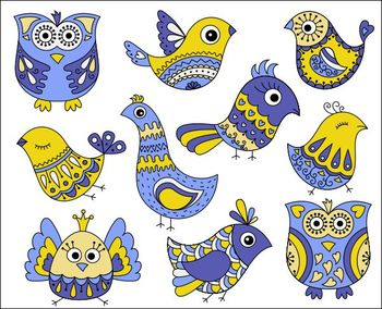 Blue And Yellow Cute Doodle Birds Clip Art