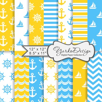 Blue And Yellow Nautical Digital Paper Pack, Geometric, 14 Sheets