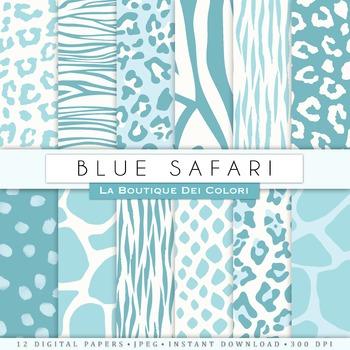 Blue Animal Prints Digital Paper, scrapbook backgrounds.