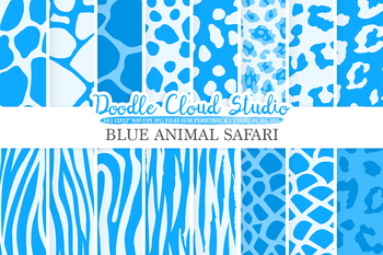 Blue Animal Safari digital paper, Animal Fur pattern, Tiger stripes, Snake skin
