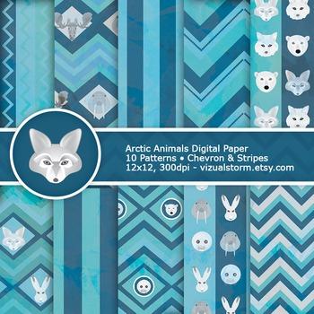 Arctic Animals Digital Paper - 10 Wild Arctic Animal Patterns