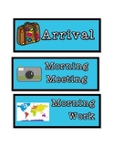Around the World Travel Themed Schedule Cards: Blue