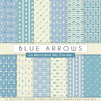 Blue Arrows Digital Paper, scrapbook backgrounds.