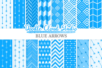 Blue Arrows digital paper, Azure Arrow patterns, tribal archery chevron.