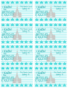 Blue Article of Faith Punch Cards LDS