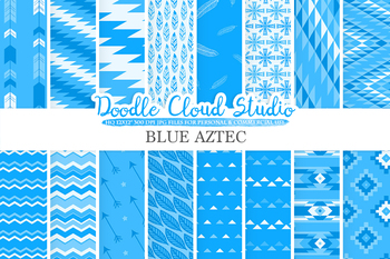 Blue Aztec digital paper, Tribal patterns, native,  triangles, geometric, ethnic