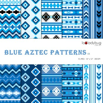 Blue Aztec patterns Wallpapers. Tribal blue digital papers.  Backgrounds.