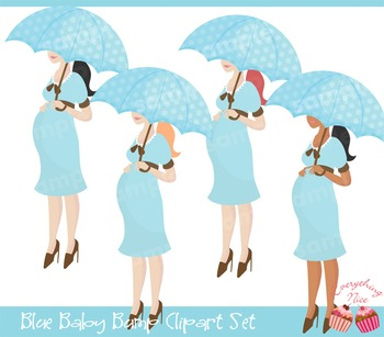 Blue Baby Bump Clipart Set