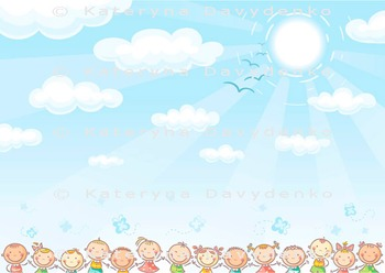 Blue Background with Sky and Lots of Kids