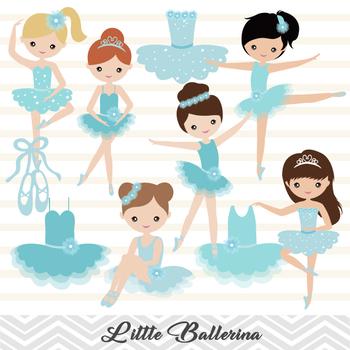 Blue Ballerina Digital Clip Art Blue Ballet Girl Clip Art Cute Little Girl 00181