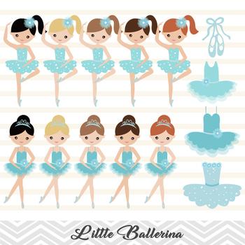 Blue Ballet Girl Clip Art Digital Ballerina Clipart Cute Little Girl Clipart  0181 Blue Ballet Dancer Clip Art Dancing Girl Clipart