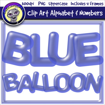 Blue Balloon Clip Art Alphabet Letters & Frames