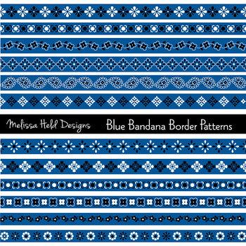 Clipart: Blue Bandana Border Patterns Clip Art