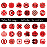 Red Bandana One Inch Circles Clipart
