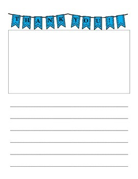 Blue Banner Thank You Writing Paper