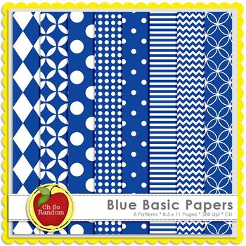 Blue Basic Digital Papers | CU