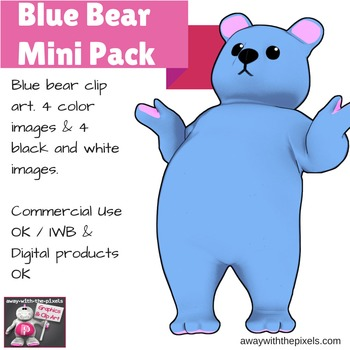 Blue Bear Clip Art Mini Pack - 4 Color and 4 Black and White Images