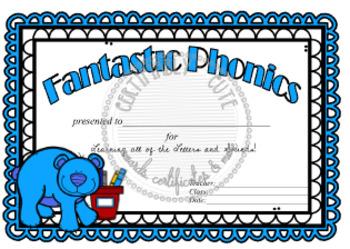 Blue Bear Fantastic Phonics Award