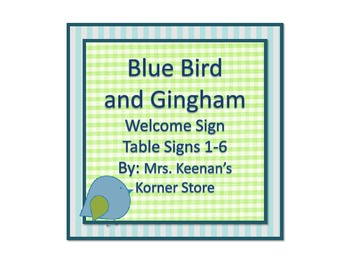 Blue Bird and Gingham Welcome Sign and Table Numbers 1-6