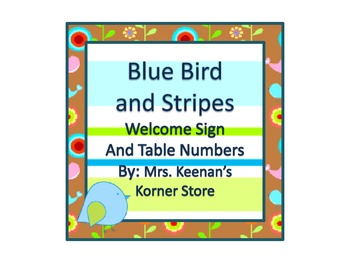 Blue Bird and Stripes Welcome Sign and Table Numbers 1-6