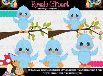 Blue Birds ClipArt - Commercial Use