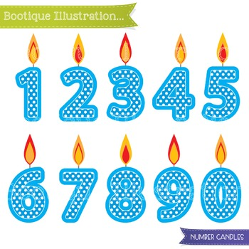 Blue Birthday Candles Clip Art. Number Candles Clip Art. Birthday Clipart.