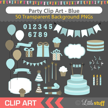 Blue Birthday Party Clip Art (Set of 50)