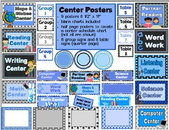 Blue, Black, & Gray Themed Classroom Resources for Back to School ement)