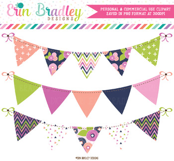 Blue Bloom Bunting Clipart Banners