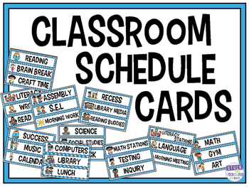 Blue Boarder Classroom Schedule Cards