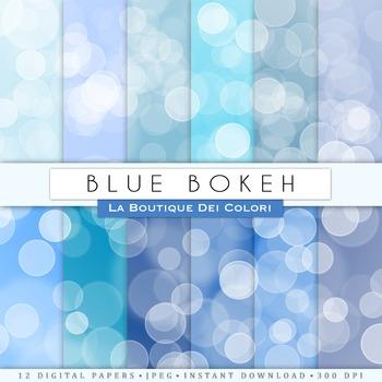 Blue Bokeh Digital Paper, scrapbook backgrounds.