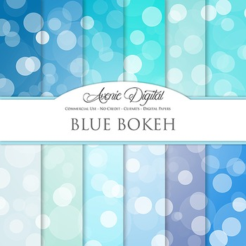 Blue Bokeh Digital Paper spotty sparkle light circles scrapbook backgrounds