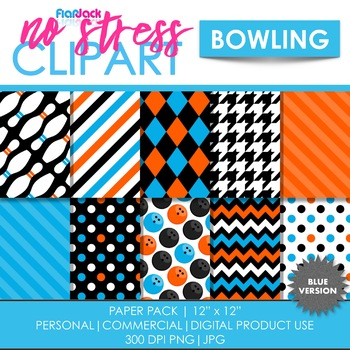 Blue Bowling Digital Papers