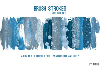 Blue Brush Strokes Paint Glitter Foil Watercolor 20 PNG Clip Art 12in CU S11