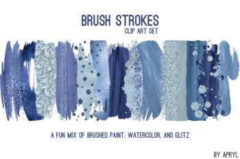 Blue Brush Strokes Paint Glitter Foil Watercolor 20 PNG Clip Art 12in CU S2