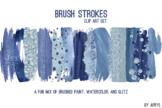 Blue Brush Strokes Paint Glitter Foil Watercolor 20 PNG Cl