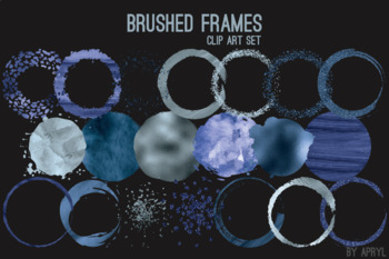 Blue Brushed Round Frames Paint Glitter Watercolor 20 PNG Clip Art 8in CU S2