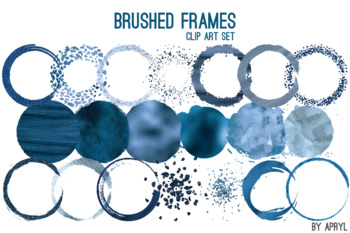 Blue Brushed Round Frames Paint Glitter Watercolor 20 PNG Clip Art 8in S11