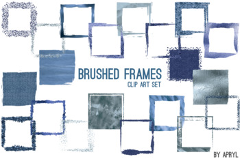 Blue Brushed Square Frames Paint Glitter Watercolor 20 PNG Clip Art 8in CU S2