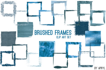 Blue Brushed Square Frames Paint Glitter Watercolor 20 PNG Clip Art 8in S11