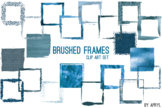 Blue Brushed Square Frames Paint Glitter Watercolor 20 PNG