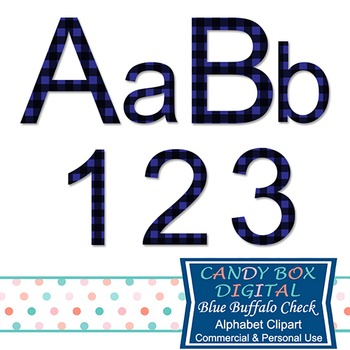 Blue Buffalo Check Plaid Alphabet Clip Art