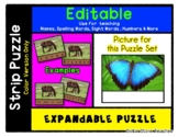 Blue Butterfly - Expandable & Editable Strip Puzzle with M