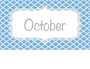 Blue Calendar Pieces