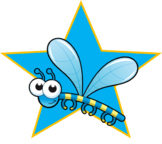 Blue Cartoon Dragonfly Star (png)