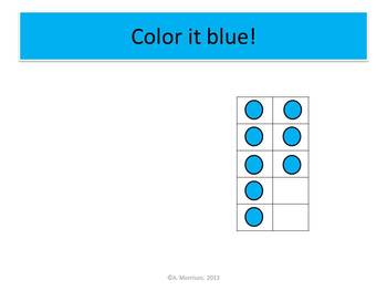 Blue Cat Beginning Ten Frames - Watch, Think, Color Mystery Picture