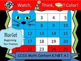 Blue Cat Beginning Ten Frames - Watch, Think, Color Myster